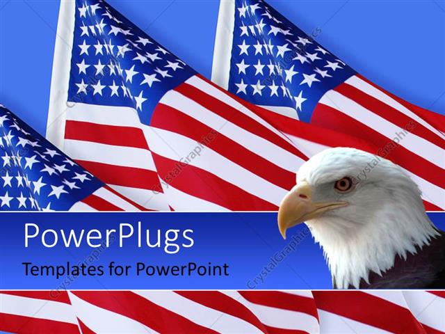 PowerPoint Template: American eagle with three American flags on ...