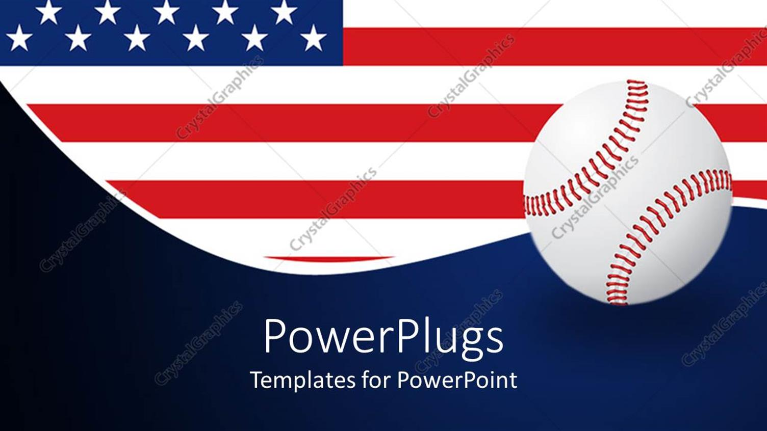 PowerPoint Template Displaying American Flag Behind a White Base Ball on a Blue Background