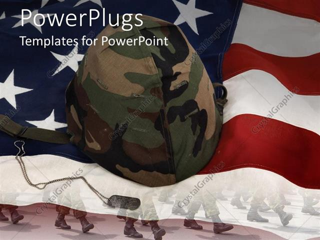Powerpoint template an american flag with a soldiers helmet 30623 powerpoint template displaying an american flag with a soldiers helmet toneelgroepblik Image collections