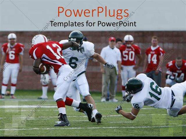 Powerpoint template american football match with player breaking powerpoint template displaying american football match with player breaking away for the touchdown toneelgroepblik Image collections