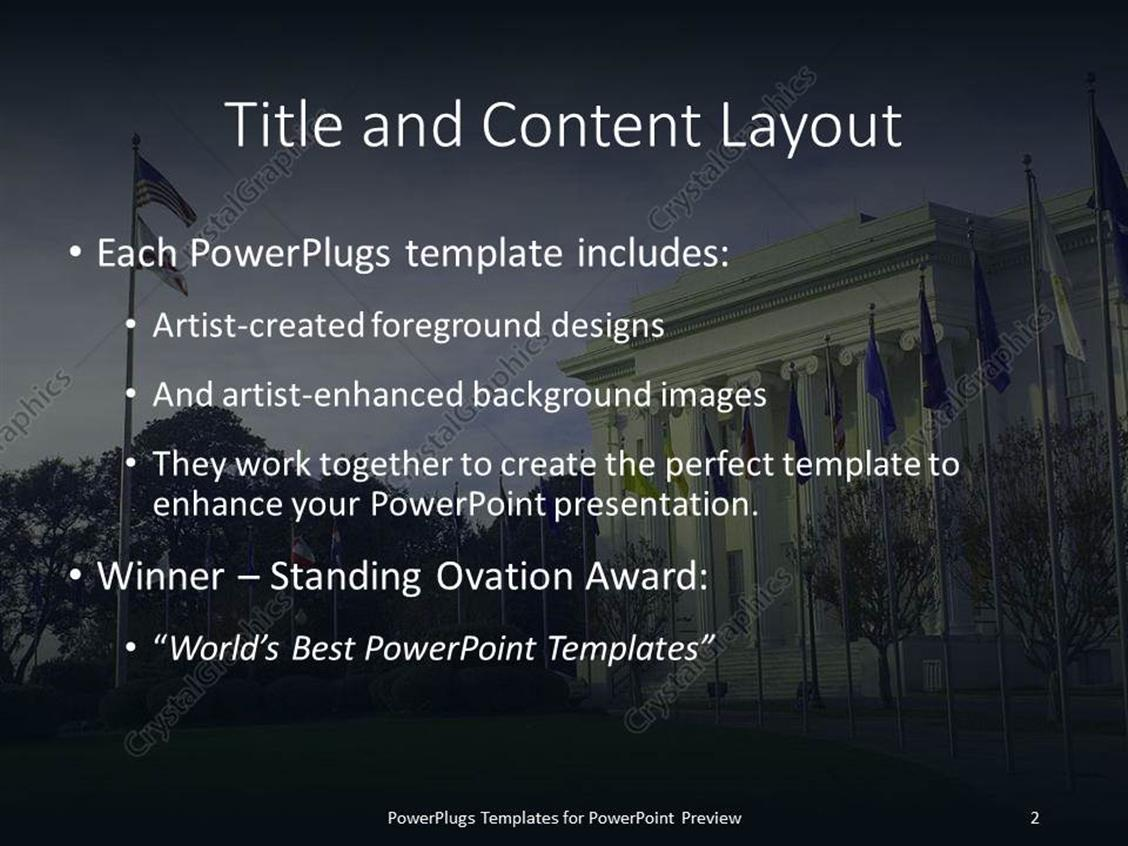 PowerPoint Template: American government house with different ...