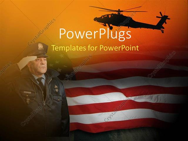 Powerpoint Template An American Soldier Saluting With American Flag