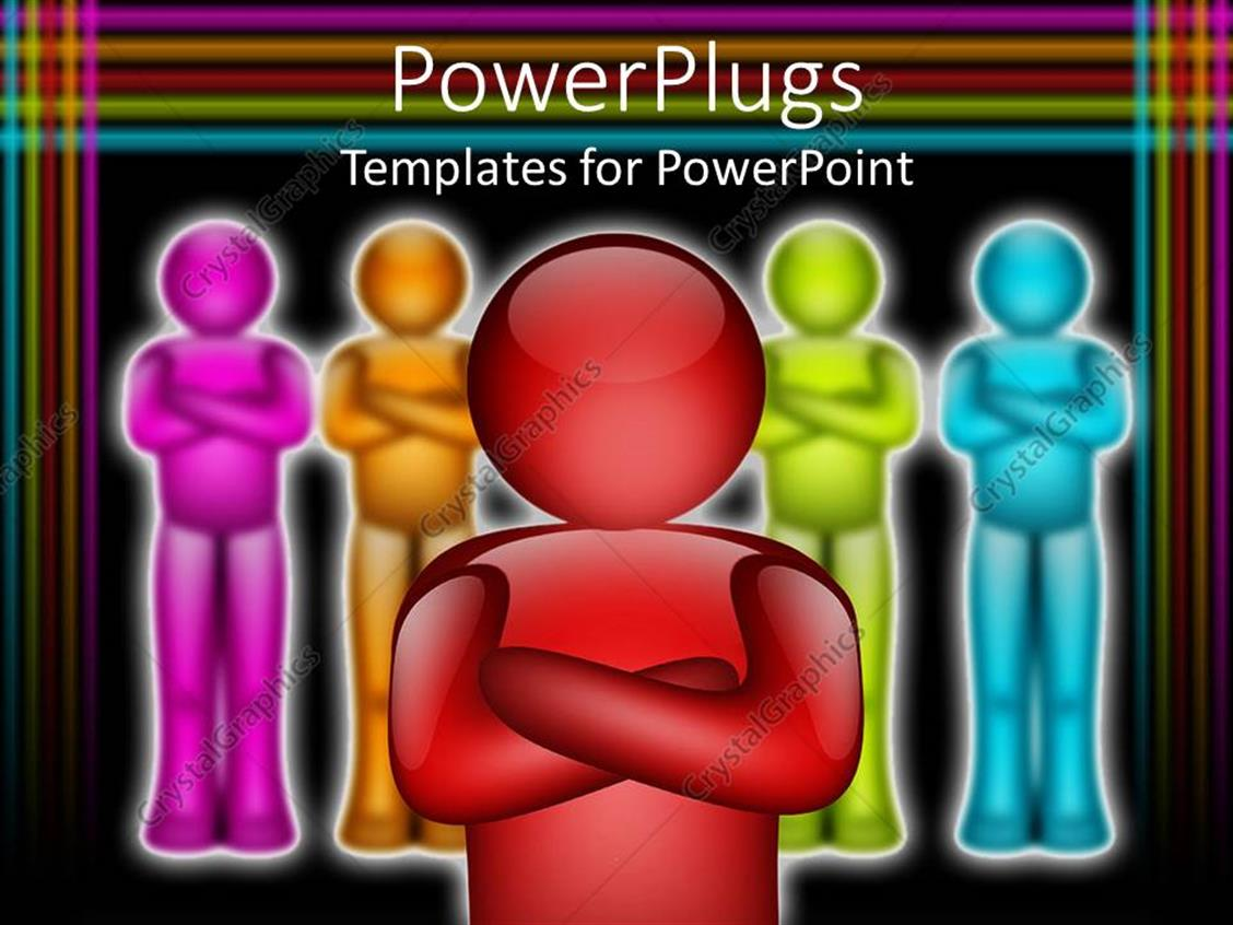 PowerPoint Template Displaying Animated Depiction of Multi Colored Humans with a Red One in Front