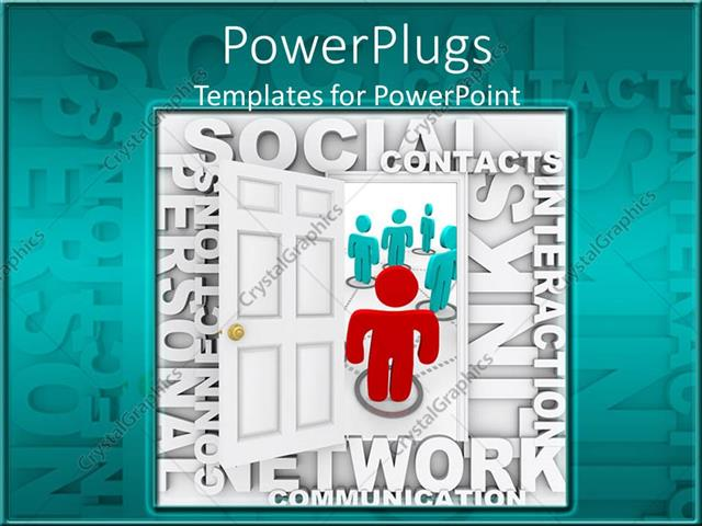 Powerpoint template animated red and blue human figures with social powerpoint template displaying animated red and blue human figures with social network text toneelgroepblik Images