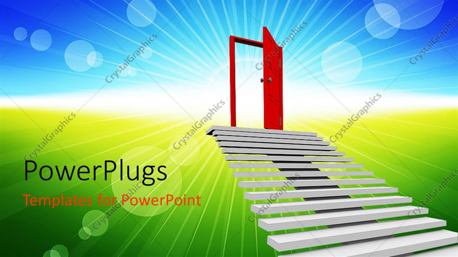 PowerPoint Template Displaying Animation of a Flight of Stairs Leading to a Red Door