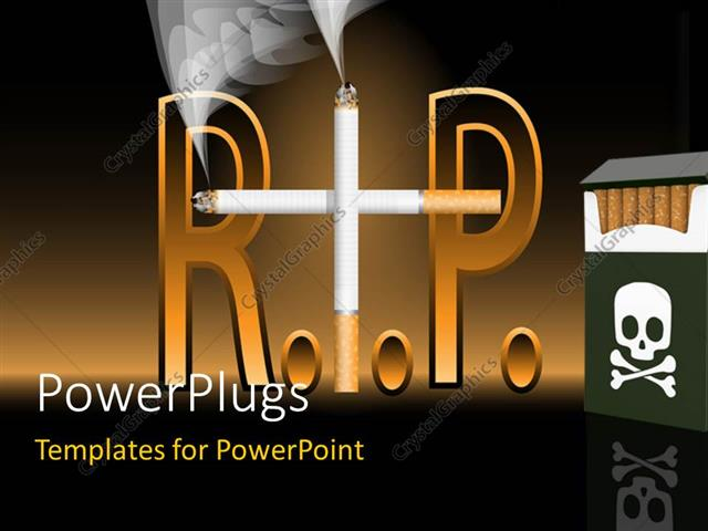 Powerpoint Template Anti Smoking Poster With Cigarette Forming Rip