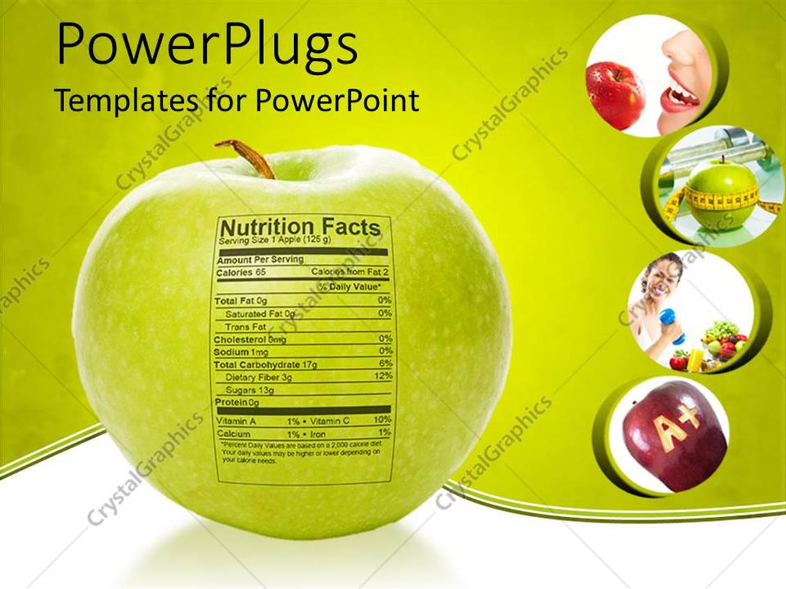 powerpoint template apple nutrition facts apple with measuring