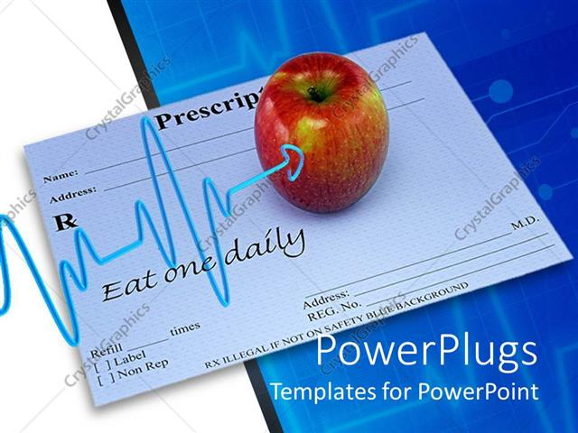 PowerPoint Template Displaying Apple Resting on Doctor Prescription with Heart Pulse Pointing to it