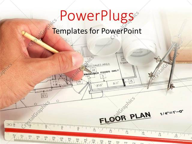 PowerPoint Template: Architect drawing the floor plan of a