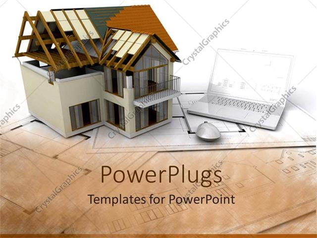 Powerpoint template architectural design of building beside laptop powerpoint template displaying architectural design of building beside laptop and computer mouse on toneelgroepblik Image collections