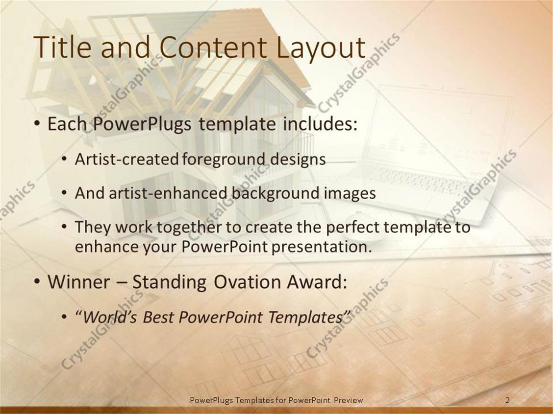 PowerPoint Template: Architectural design of building beside laptop ...