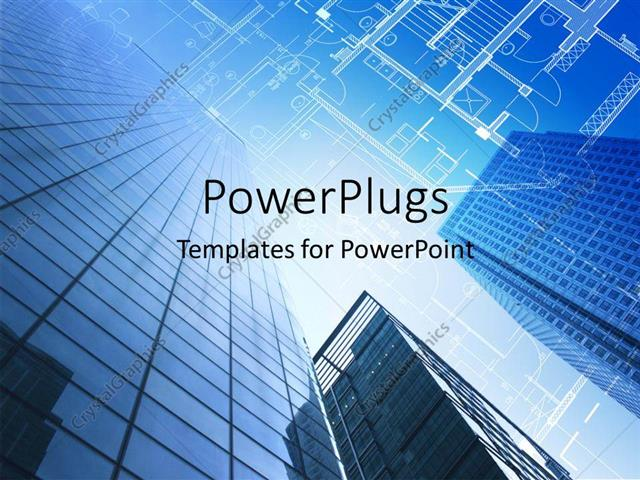 Powerpoint template architectural design and floor plan with sky powerpoint template displaying architectural design and floor plan with sky scraper in blue sky toneelgroepblik Image collections