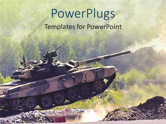 Powerpoint template armoured army tank driving fast and shooting on powerpoint template displaying armoured army tank driving fast and shooting on a dirt road toneelgroepblik Gallery