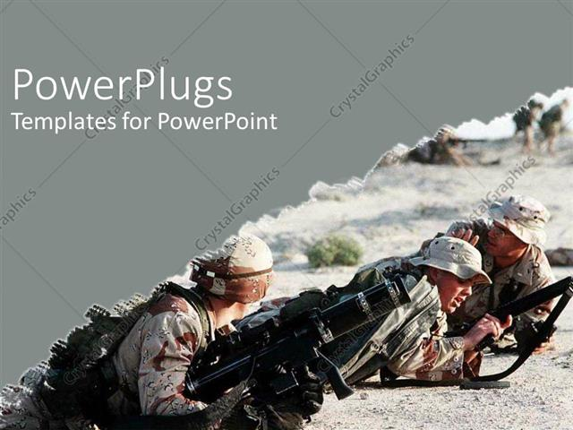 Powerpoint template army at war iraq military camouflage guns powerpoint template displaying army at war iraq military camouflage guns desert on grey background toneelgroepblik Images