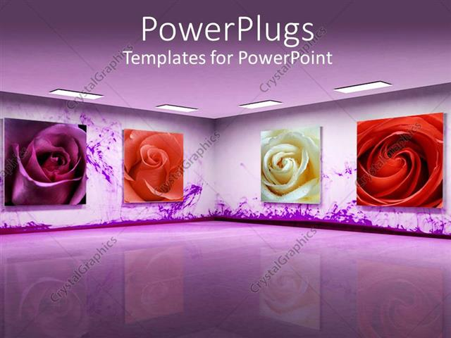 Powerpoint template art gallery with beautiful purple color powerpoint template displaying art gallery with beautiful purple color different roses in the frames toneelgroepblik Image collections