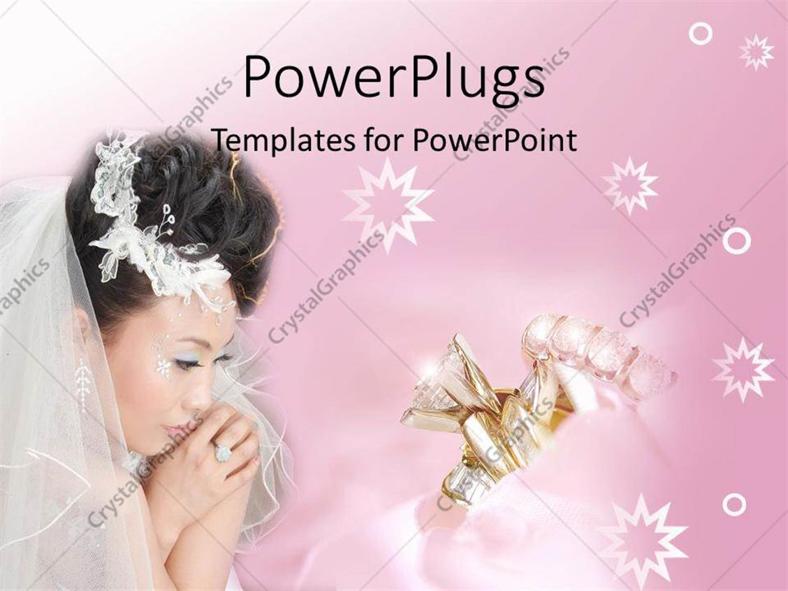 PowerPoint Template: Asian bride with wedding rings and stars on ...