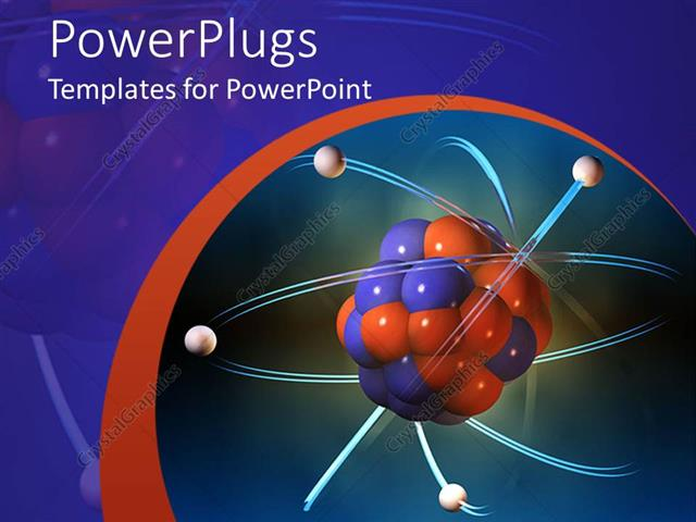 PowerPoint Template Atom Electrons Science Blue And Orange