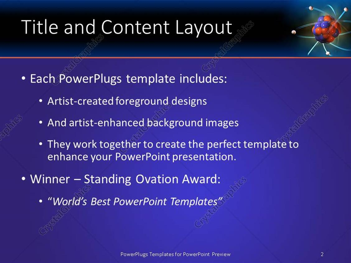 Powerpoint template atom electrons science blue and orange powerpoint products templates secure alramifo Image collections