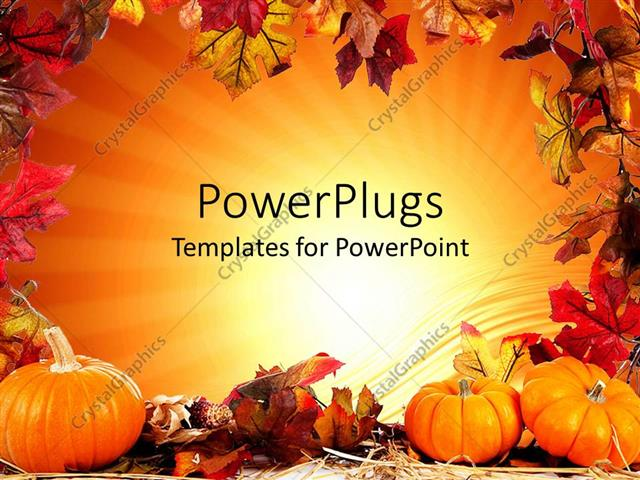 Powerpoint template autumn fall leaf border with orange background powerpoint template displaying autumn fall leaf border with orange background and three pumpkins toneelgroepblik Gallery