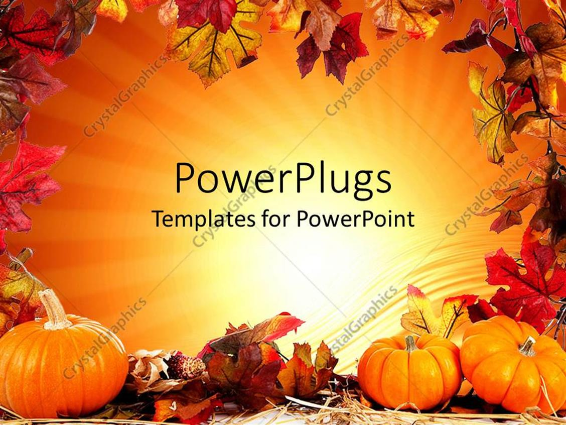 powerpoint template autumn fall leaf border with orange background