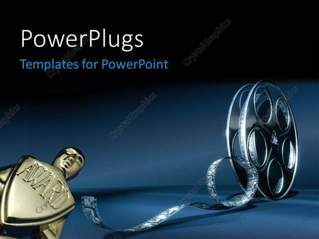 PowerPoint Template: award with 3D cinema film reel (12038)