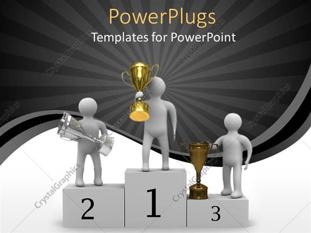 Powerpoint Template Award Presentation Of Gold Silver And Bronze