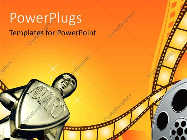 Powerpoint template an award with orange background and a film powerpoint template displaying an award with orange background and a film roll toneelgroepblik Choice Image