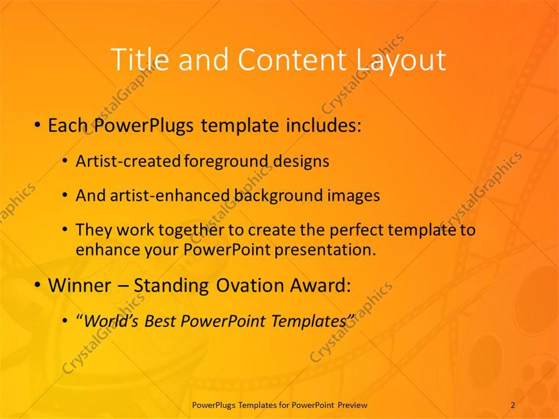 Powerpoint template an award with orange background and a film roll powerpoint products templates secure toneelgroepblik Gallery