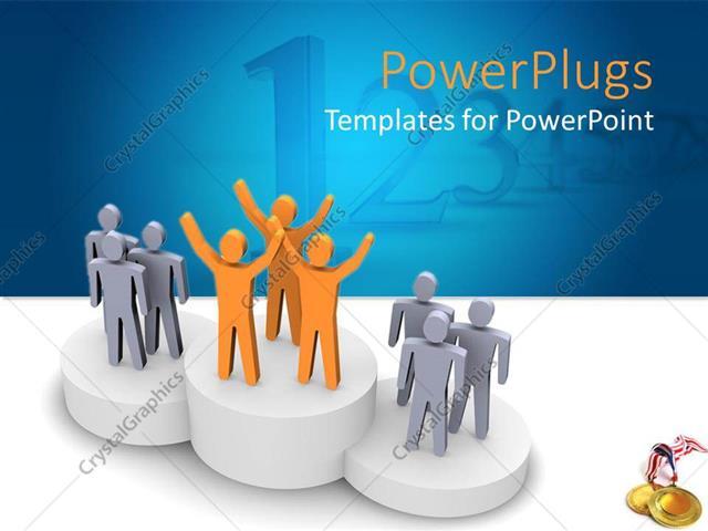 powerpoint template award presentation on podium with winning teams