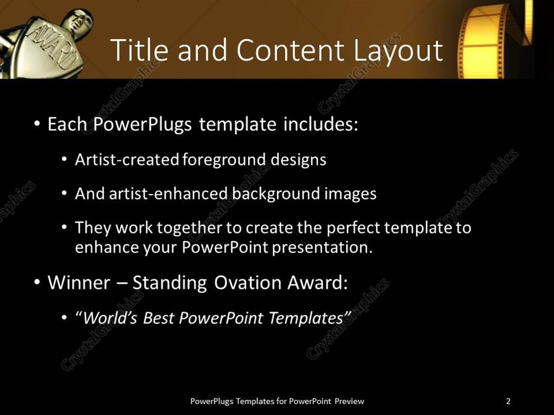 Powerpoint template an award with the representation of film powerpoint products templates secure standing ovation award toneelgroepblik Choice Image