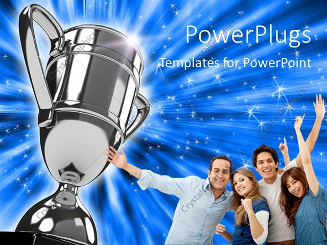 powerpoint template award winning group points to silver trophy on