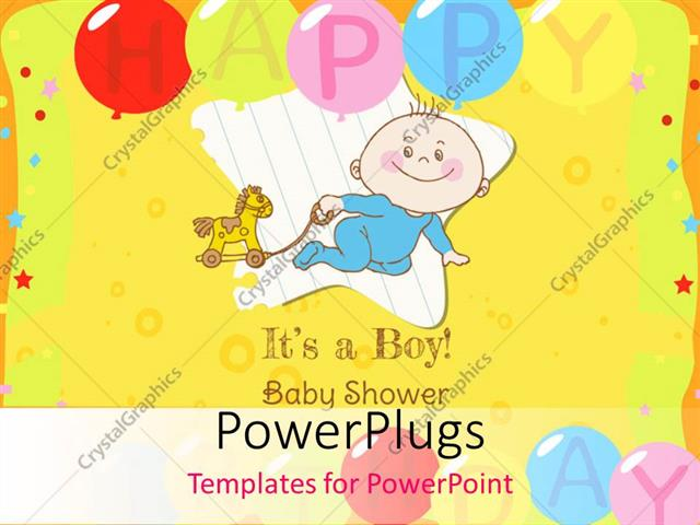 Powerpoint Template Baby Boy Shower And Arrival Card With Image Of