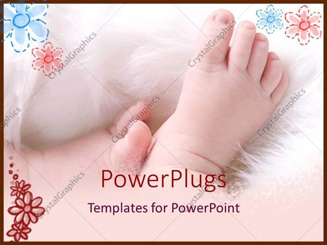Powerpoint Template Baby Feet On White Flurry Blanket On A Petal