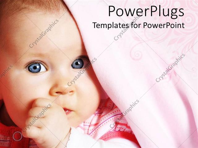 PowerPoint Template Displaying Baby Girl with Bright Blue Eyes and Pink Blanket Sucking her Thumb