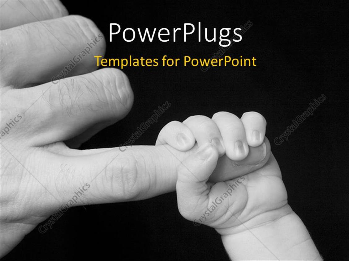 PowerPoint Template Displaying a Baby Holding the Hand of the Father