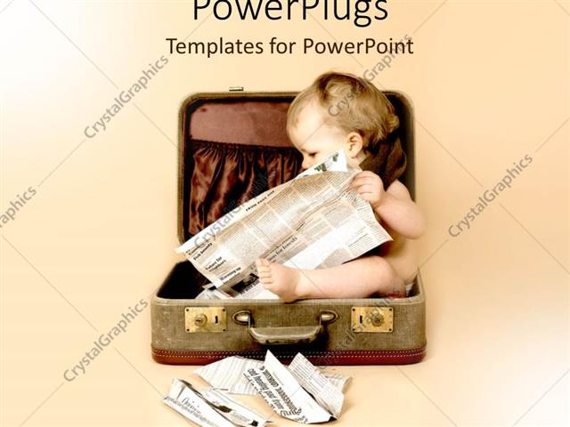 PowerPoint Template Displaying Baby Sitting in Suitcase Reading Newspaper on Pale Background, Starting Early, Infant