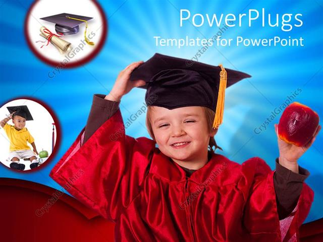 PowerPoint Template: Baby wearing a red colored graduation gown and ...