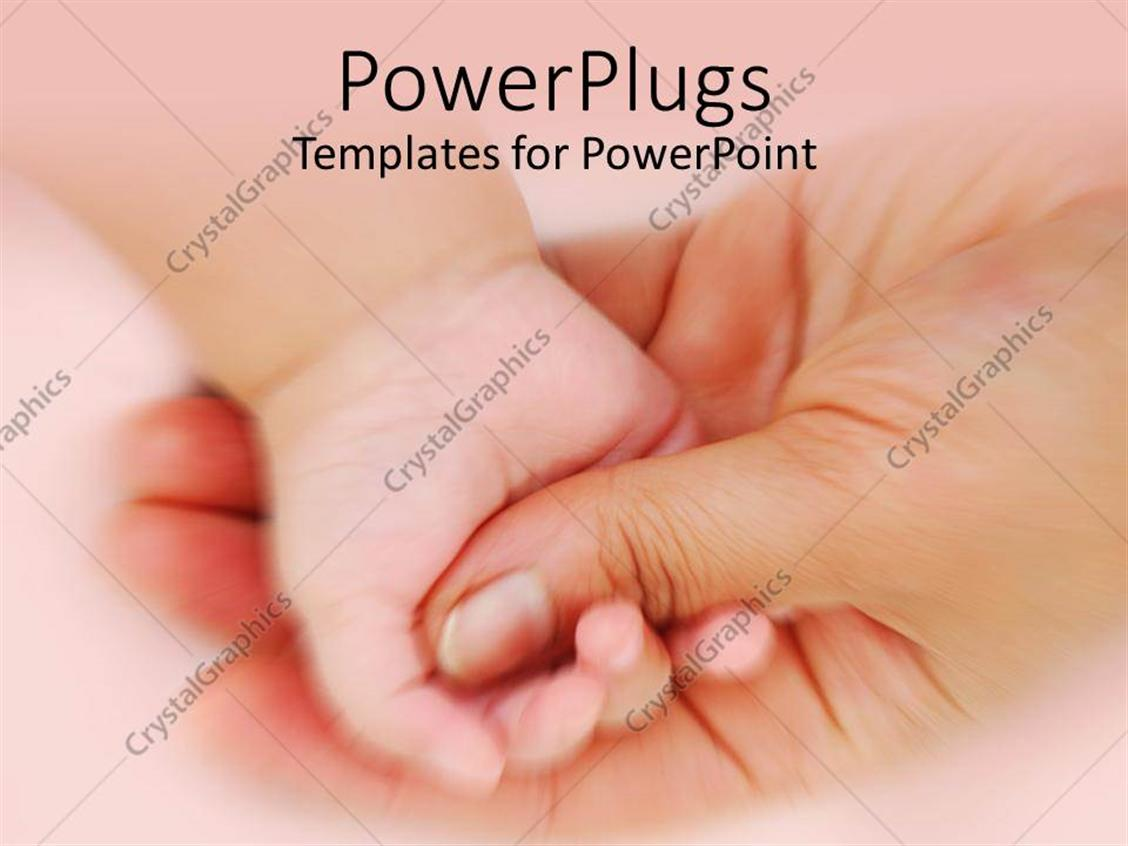 PowerPoint Template Displaying Baby's Hand Grasping Mother's Thumb
