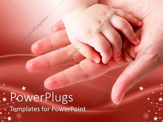 PowerPoint Template Displaying Baby's Hand on Mother's Open Palm
