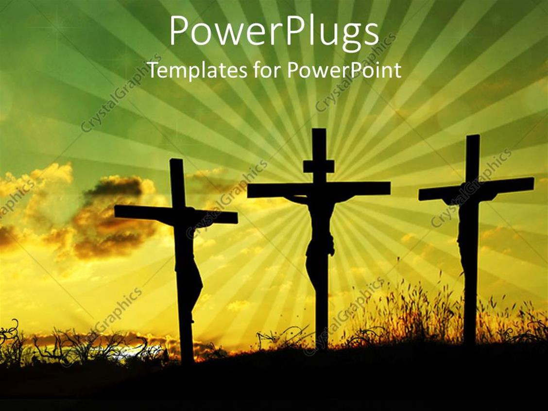 PowerPoint Template Displaying Back Lit Silhouettes of Jesus on the Cross Between Two Thieves