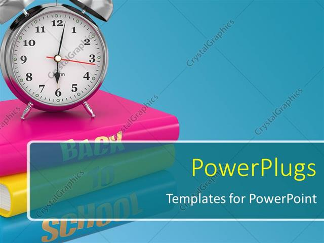 Powerpoint template back to school concept alarm clock on books powerpoint template displaying back to school concept alarm clock on books toneelgroepblik Images