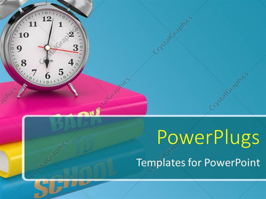 Powerpoint Template Back To School Concept Alarm Clock On Books