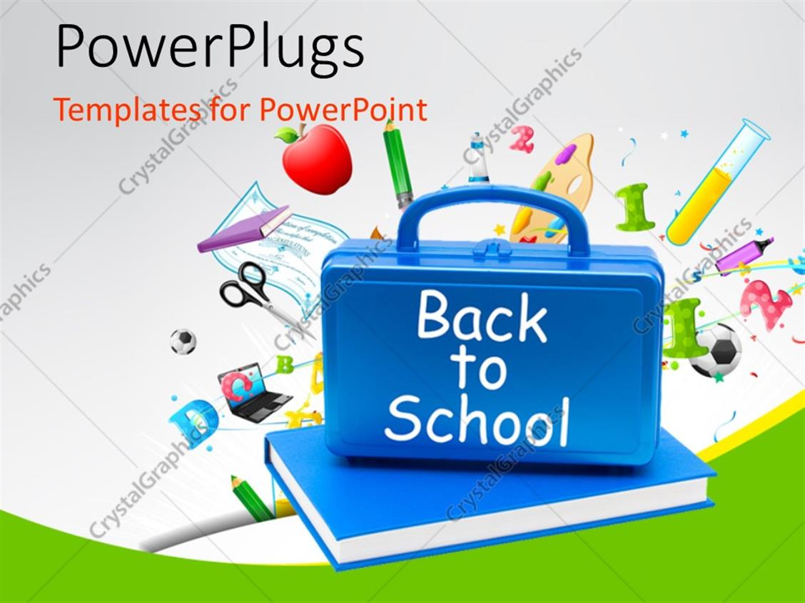PowerPoint Template Displaying Back to School Concept with Blue Briefcase Over the Book and other Educational Material in the Background