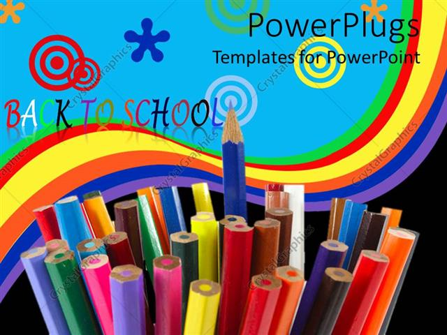 PowerPoint Template: Back to school concept with colored pencils ...
