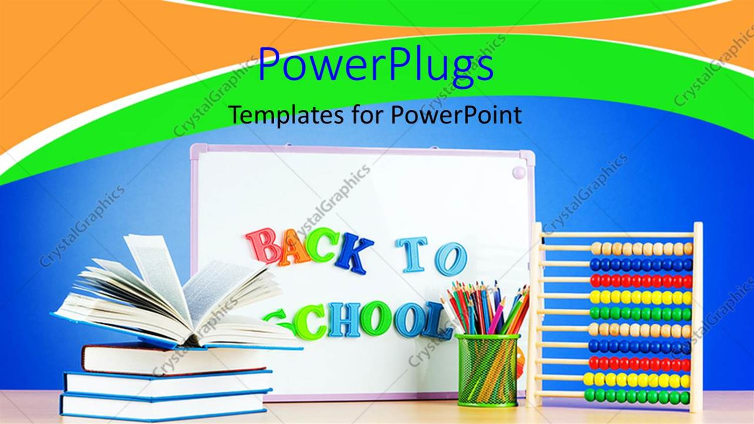 PowerPoint Template Displaying Back to School Depiction with Book Pile and School Supplies
