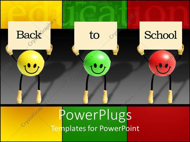 PowerPoint Template Displaying Back to School with Green, Yellow and Red Smiley Balls Holding Signs, Education, Teaching