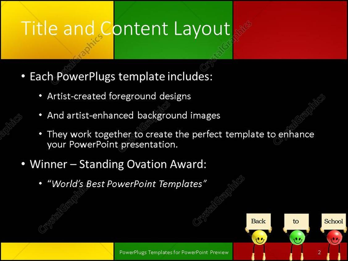 Powerpoint template back to school with green yellow and red powerpoint products templates secure standing ovation award toneelgroepblik Images