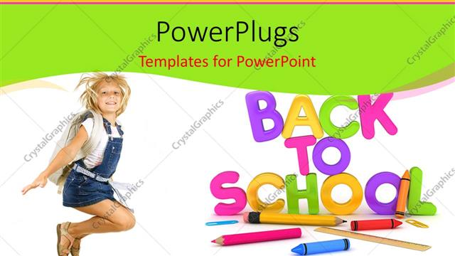 Powerpoint template learning depiction with school supplies and powerpoint template displaying learning depiction with school supplies and cute girl dressed for school toneelgroepblik Gallery