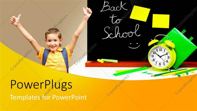 PowerPoint Template Displaying Back to School Theme with Child Boy Student Celebrating, Blackboard, Alarm Clock, Pencils, Ruler, Chalk, Education,
