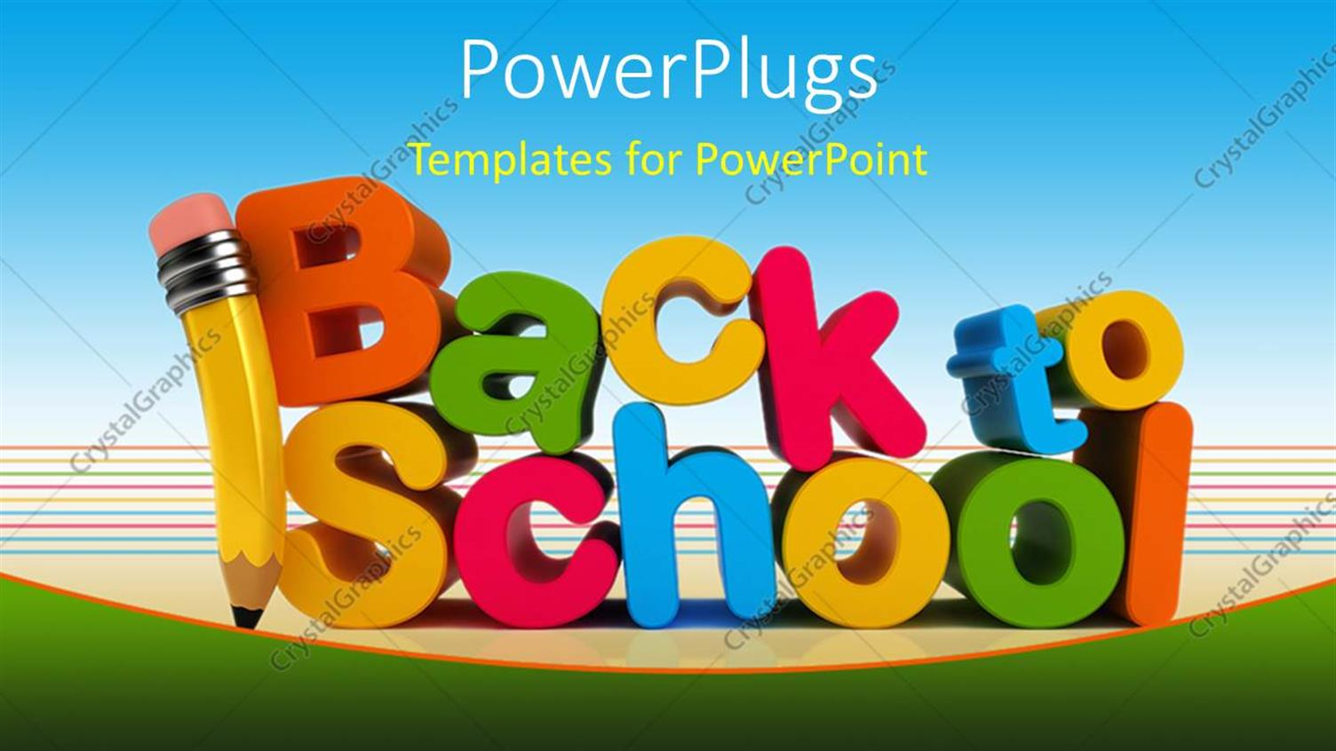 PowerPoint Template Displaying Colorful Letters Form Text Back to School with Pencil